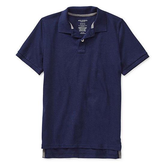 Arizona Boys Point Collar Short Sleeve Polo Shirt Little Kid / Big Kid Husky