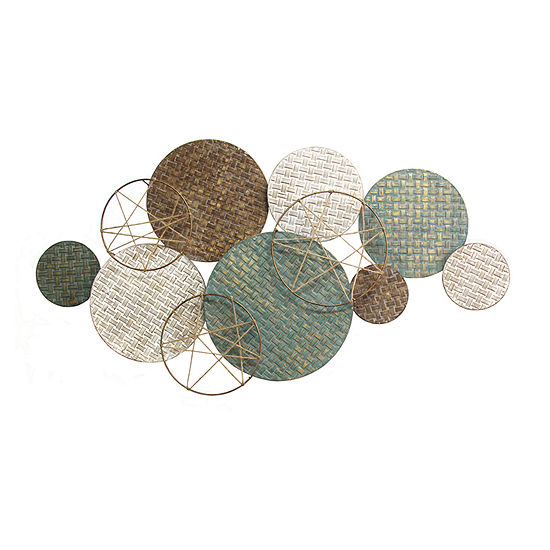 Stratton Home Decor Woven Plates Abstract Metal Wall Art