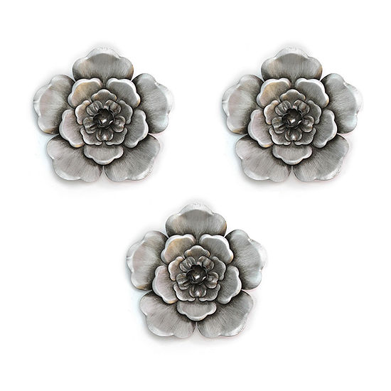 Stratton Home Decor Silver Flowers 3-pc. Floral Metal Wall Art