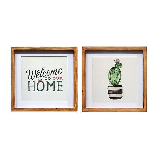 Stratton Home Decor Framed Cactus Set 2-pc. Bohemian Print