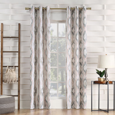 No 918 Valerie Santiago Ikat Ogee Light-Filtering Grommet-Top Single Curtain Panel