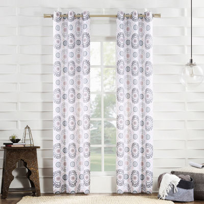No 918 Valerie Madani Medallion Light-Filtering Grommet-Top Single Curtain Panel