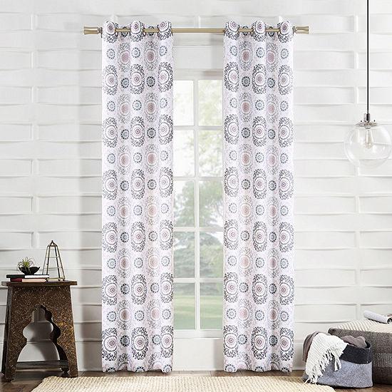No 918 Valerie Madani Medallion Light-Filtering Grommet-Top Single Curtain Panel