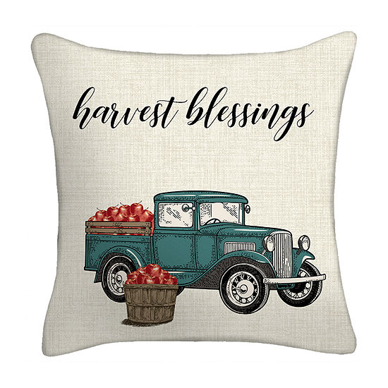 Harvest Truck Square Throw Pillow