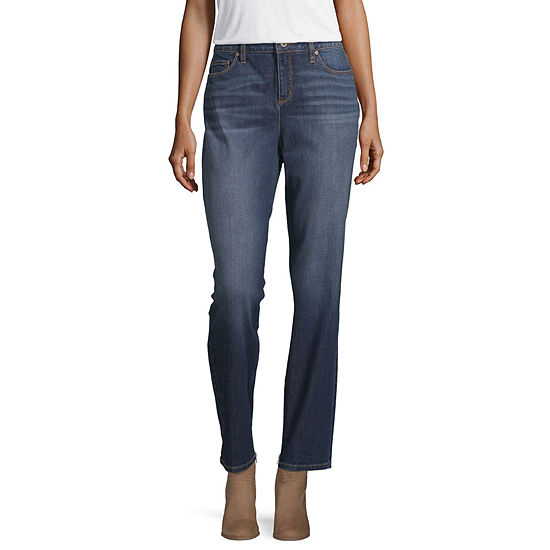 Liz Claiborne Womens Girlfriend Straight Leg Jean