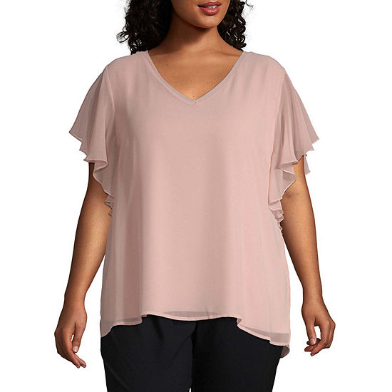 Worthington Womens Short Sleeve Mixed Media Flutter Sleeve Blouse - Plus