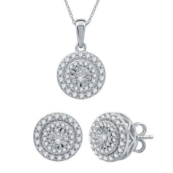 Ever Star 1 CT. T.W. Lab Grown White Diamond 10K White Gold Round 2-pc. Jewelry Set