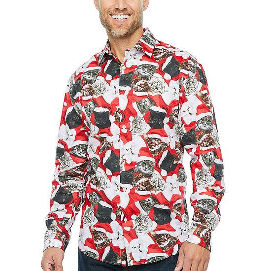 North Pole Trading Co. Mens Point Collar Long Sleeve Dress Shirt