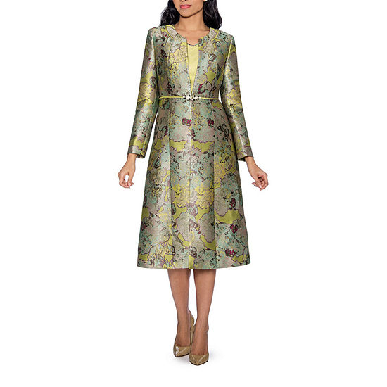 Giovanna Collection Women's Art of Brocade 2-piece Long Coat with Dress Set - Plus