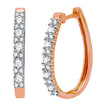 Ever Star 1 CT. T.W. Lab Grown White Diamond 10K Rose Gold 25mm Round Hoop Earrings