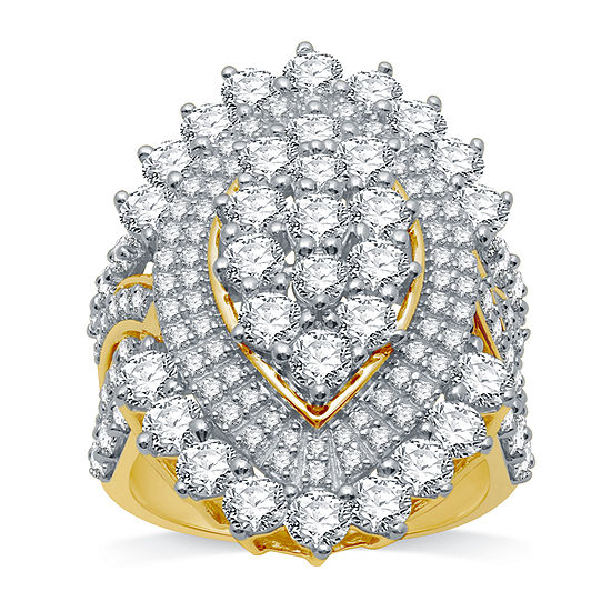Ever Star Womens 4 CT. T.W. Lab Grown White Diamond 10K Gold Round Cluster Cocktail Ring