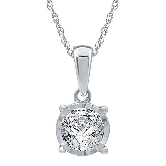 Womens 1/2 CT. T.W. Genuine White Diamond 10K White Gold Pendant