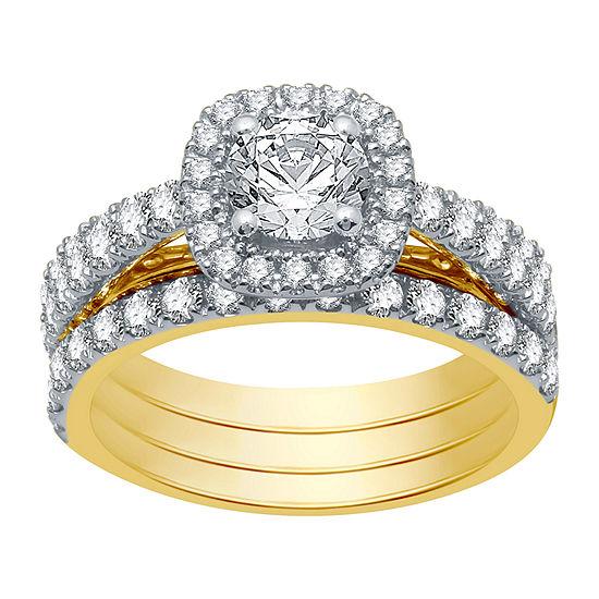 Ever Star Womens 2 CT. T.W. Lab Grown White Diamond 10K Gold Round Bridal Set