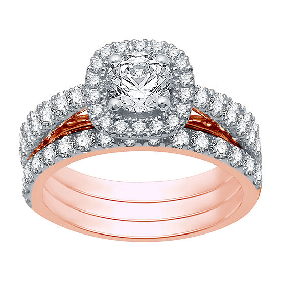 Ever Star Womens 2 CT. T.W. Lab Grown White Diamond 10K Rose Gold Round Bridal Set