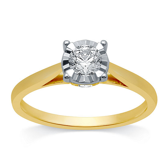Ever Star Womens 1/2 CT. T.W. Lab Grown White Diamond 10K Gold Round Solitaire Engagement Ring