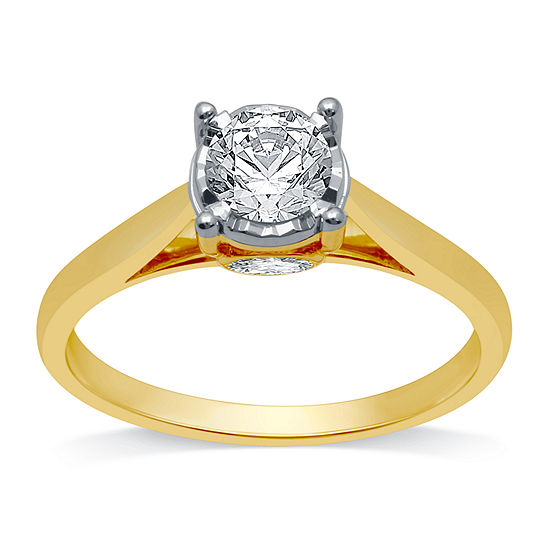 Ever Star Womens 3/4 CT. T.W. Lab Grown White Diamond 10K Gold Round Solitaire Engagement Ring