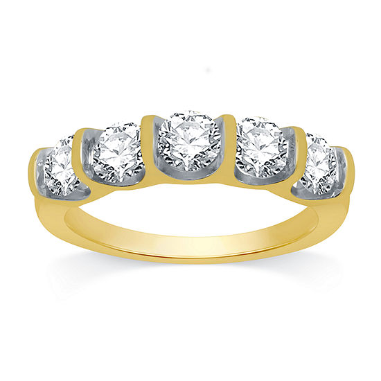 Ever Star Womens 2MM 1 1/2 CT. T.W. Lab Grown White Diamond 10K Gold Band
