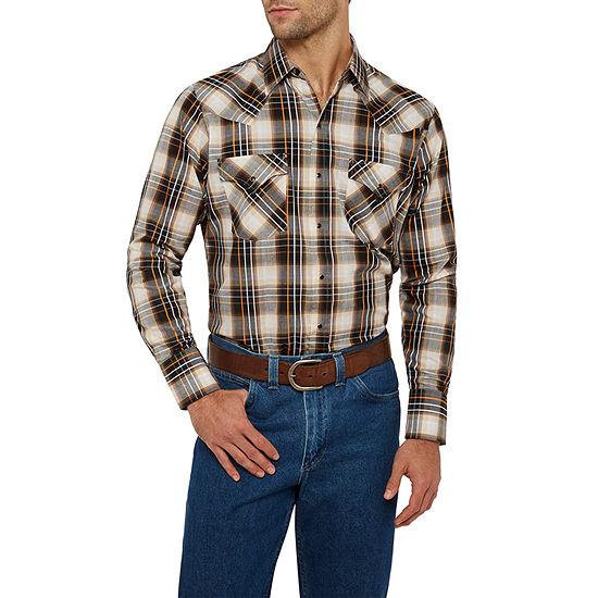 Ely Cattleman Textured Dobby Plaid Western Shirt