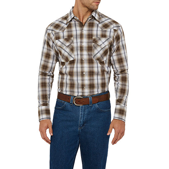 Ely Cattleman Textured Ombre Plaid Western Shirt