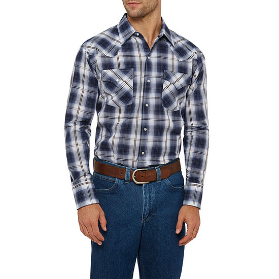Ely Cattleman Textured Ombre Plaid Western Shirt - Tall