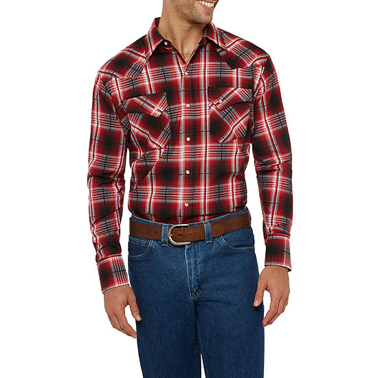 Ely Cattleman Bold Textured Plaid Western Shirt