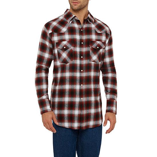 Ely Cattleman Mens Long Sleeve Yarn Dyed Western Shirt - Tall