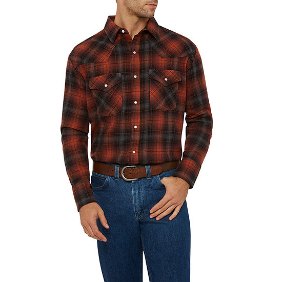 Ely Cattleman Mens Long Sleeve Brawney Western Flannel Shirt