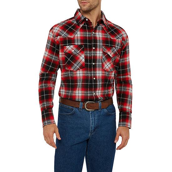 Ely Cattleman Mens Long Sleeve Brawney Western Flannel Shirt - Tall