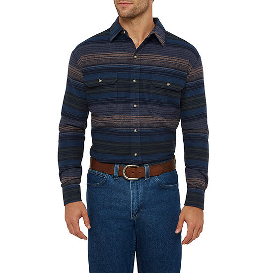 Ely Cattleman Mens Long Sleeve Horizonal Stripe Flannel Western Shirt