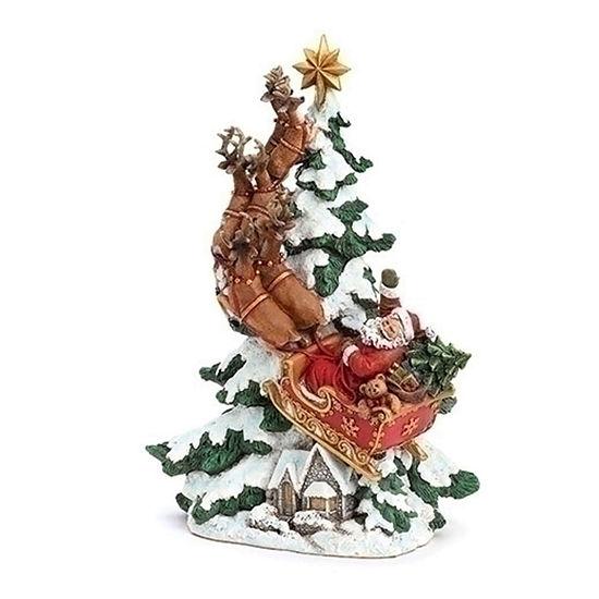 Roman Flying Santa And Reindeer Figurine