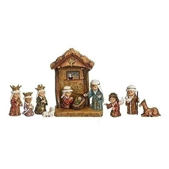 Roman Jewel & Gold Leaf Nativity Figurine