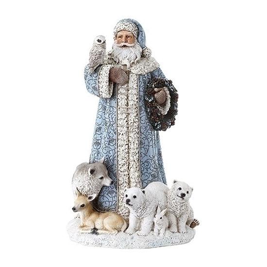 Roman Led Blue Santa Figurine