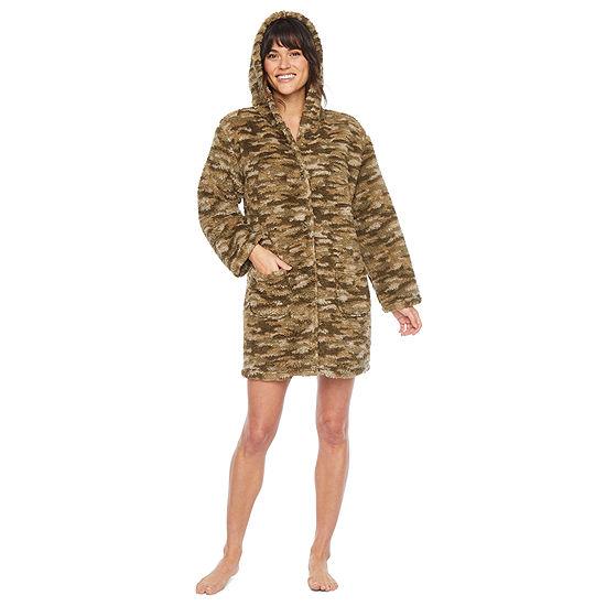 Rene Rofe Warm & Toasty Womens Plush Bed Jacket Long Sleeve Button