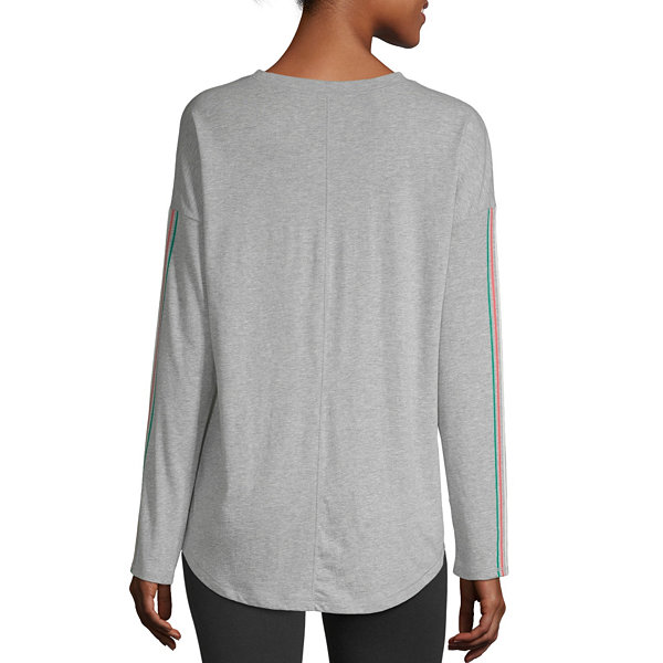 Flirtitude Juniors-Womens Crew Neck Long Sleeve T-Shirt