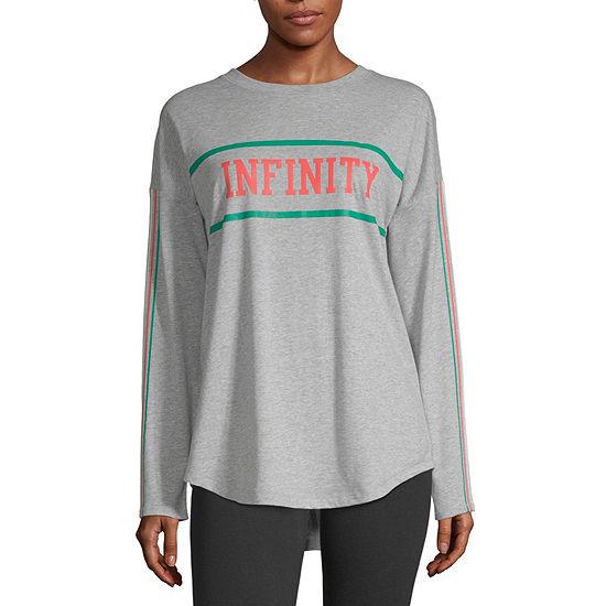 Flirtitude Juniors-Womens Crew Neck Long Sleeve T-Shirt