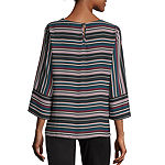 Liz Claiborne Womens Round Neck 3/4 Sleeve Blouse
