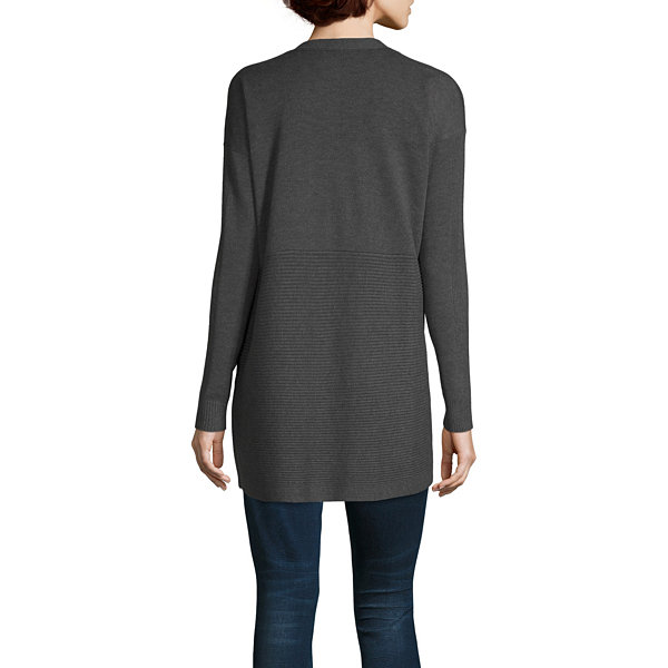 Worthington Womens Long Sleeve Open Front Cardigan