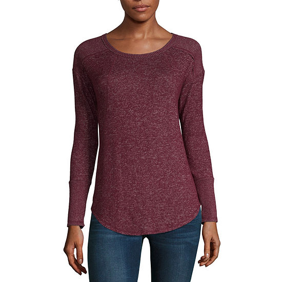 a.n.a Womens Crew Neck Long Sleeve Knit Blouse