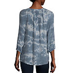 Alyx Womens Split Tie Neck 3/4 Sleeve Blouse