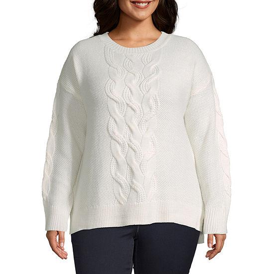 St. John's Bay-Plus Womens Crew Neck Long Sleeve Pullover Sweater
