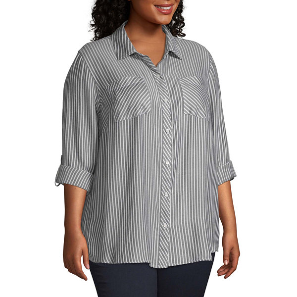 a.n.a Womens Long Sleeve Button-Front Shirt-Plus
