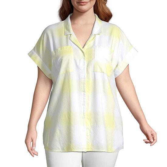 a.n.a Womens Short Sleeve Regular Fit Button-Front Shirt - -Plus