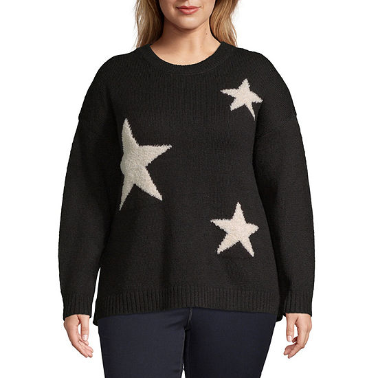 a.n.a Womens Crew Neck Long Sleeve Star Pullover Sweater -Plus