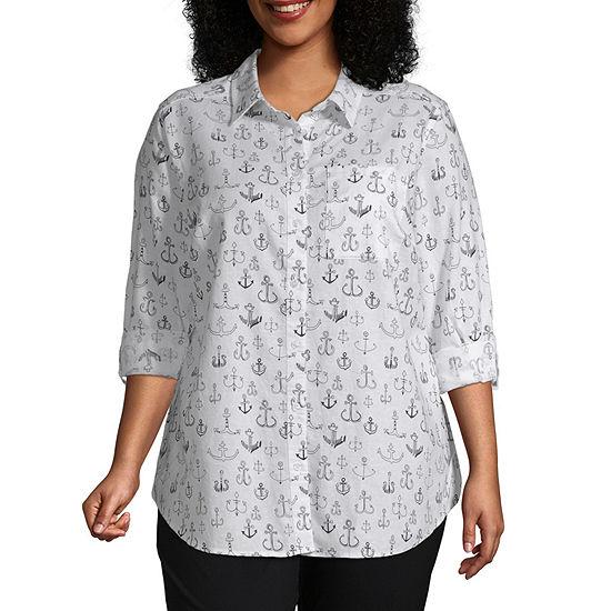 Liz Claiborne Woven Tunic Shirt- Plus