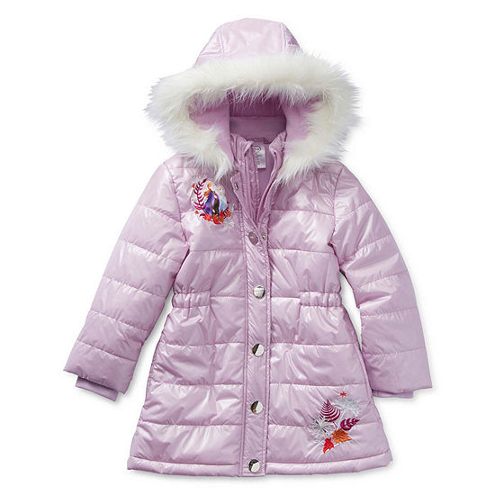 Disney Frozen 2 Faux Fur Trimmed Hooded Winter Jacket - Girls