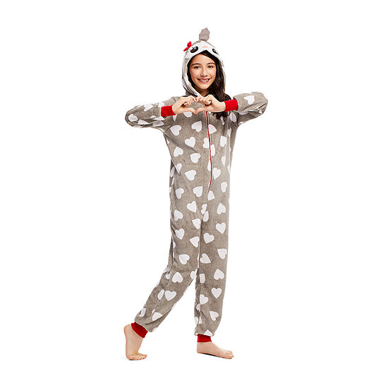 Jelli Fish Kids Little & Big Girls Fleece Long Sleeve One Piece Pajama