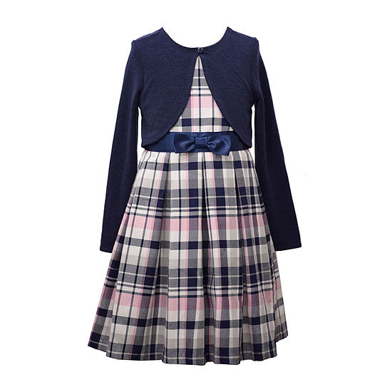 Bonnie Jean Plaid Little Girls Sleeveless Dress Set