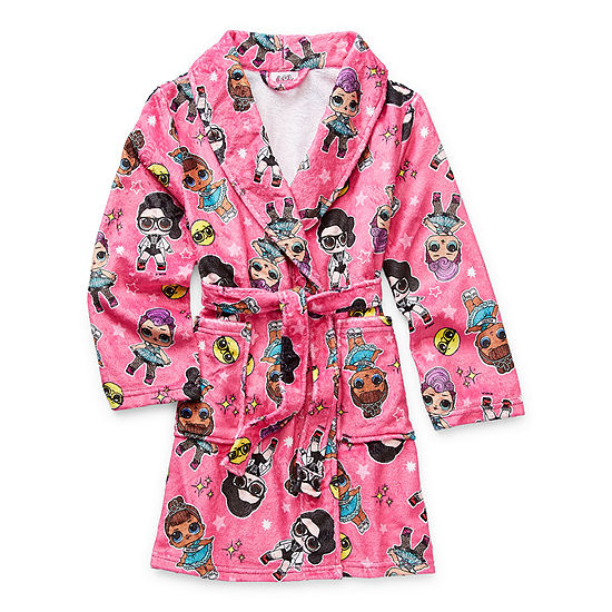 Little & Big Girls Plush LOL Long Sleeve Mid Length Robe