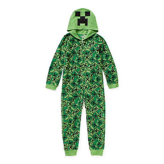 Little & Big Boys Microfleece Minecraft Long Sleeve One Piece Pajama