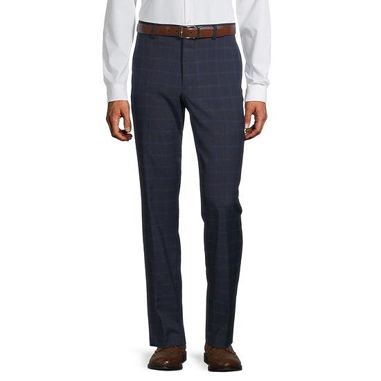 JF J.Ferrar Mens Windowpane Stretch Slim Fit Suit Pants